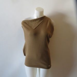 GUCCI LIGHT BROWN SLEEVELESS SWEATER TOP SIZE S*